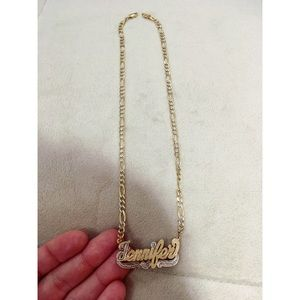 'Jennifer' name plate gold and silver necklace